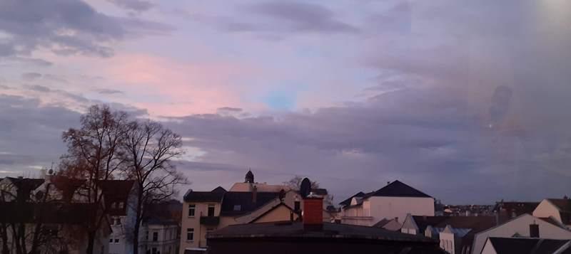 Vom ASPIDA Pflegecampus; Blick in richtung Stadtmitte am Morgen